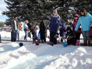 Little Kids Snow Bowling at Snow Fest